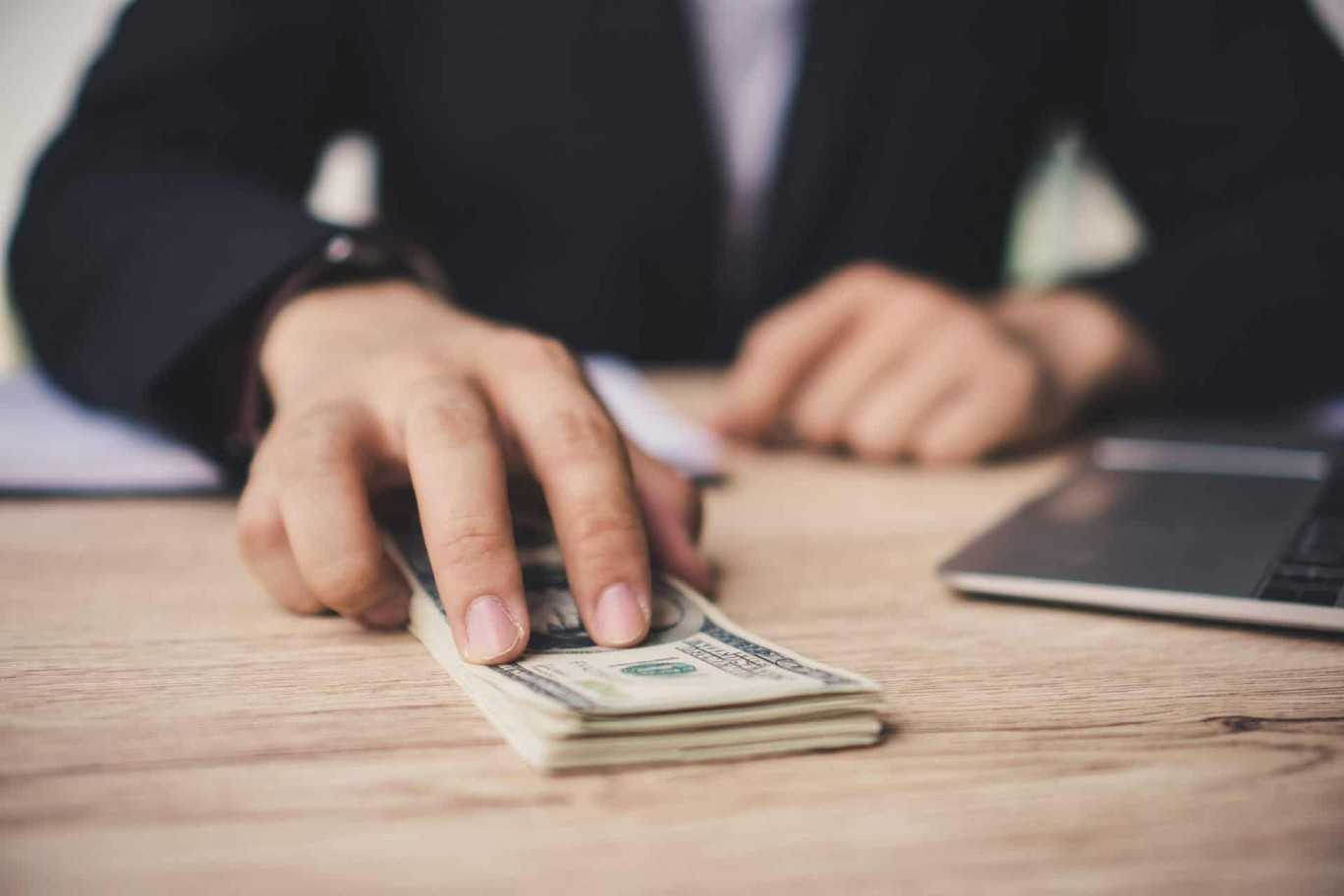 Business Man Hand Close Up Preparing Tax Filing